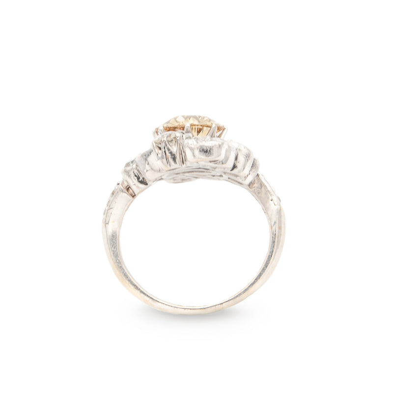Antique Platinum Engagement or Cocktail Ring with Old European Cut Untreated Cognac Diamond and White Diamonds