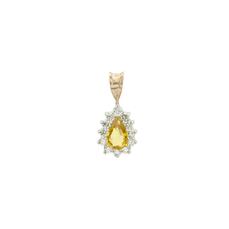 Unique Pear Shaped Golden Sapphire Surrounded with Top Quality Diamonds in a Handmade 14 Karat White and Yellow Gold Pendant
