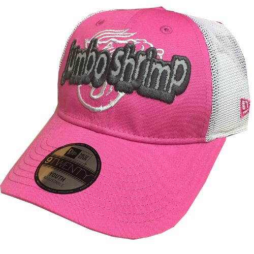 Jacksonville Jumbo Shrimp New Era Youth Pink Pop Stitcher 9Twenty