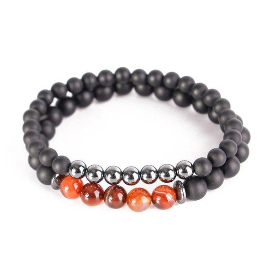 Carnelian & Hematite Long Distance Couples Bracelet Set Jewelry Spiritual Warriors Shop