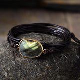 Handcrafted Labradorite Bracelet For Psychic Protection Jewelry Spiritual Warriors Shop Dark Brown