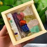 Reiki Healing Selenite Wand Crystal Set In A Wooden Box Healing Crystal Spiritual Warriors Shop