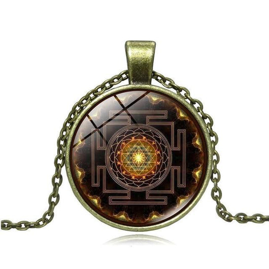 Sri Yantra Power Buddhist Necklace Spiritual Warriors Shop Bronze