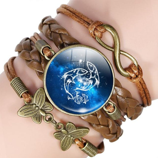 Your Zodiac Sign Leather Bracelet Spiritual Warriors Shop Pisces