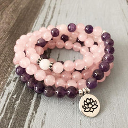 Rose Quartz & Amethyst Love Mala Spiritual Warriors Shop