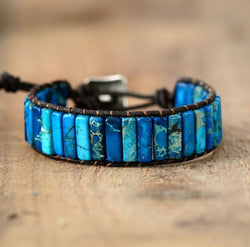 Bohemian Gem Stone & Leather Bracelet Spiritual Warriors Shop Blue