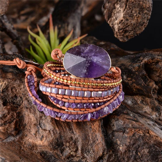 Crown Chakra Healing Amethyst Wrap Bracelet Spiritual Warriors Shop