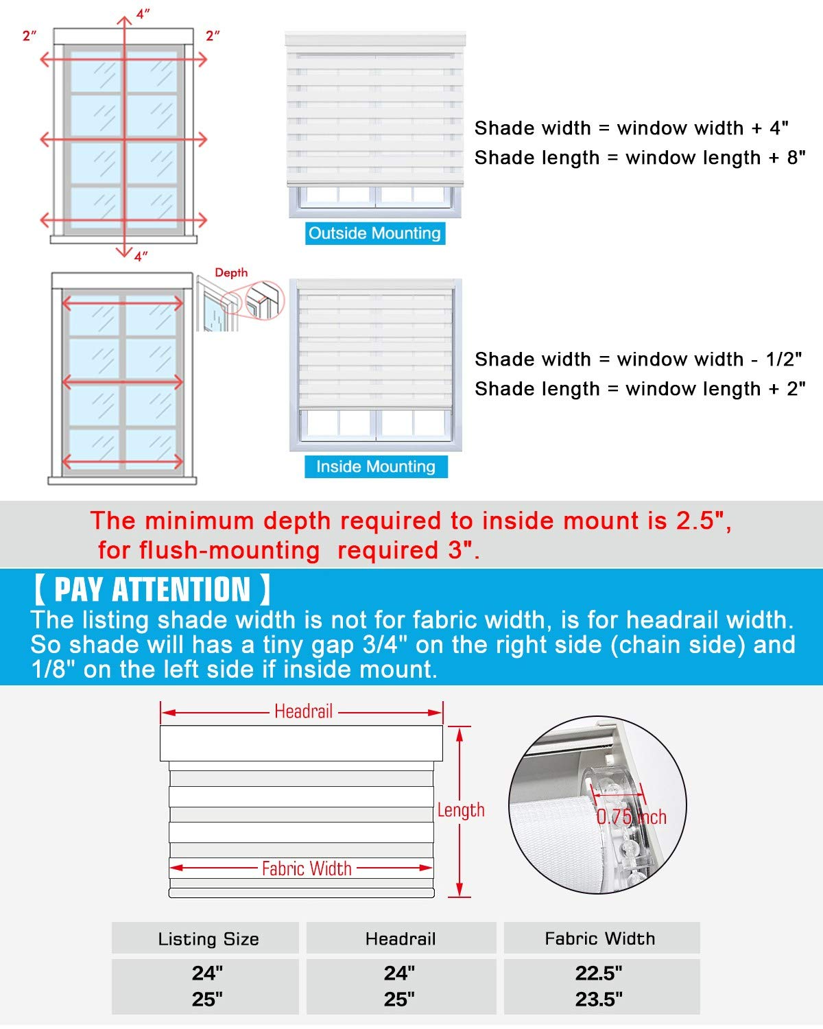how to measure the blinds size