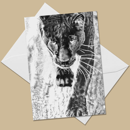Black Leopard Greeting Card - The Thriving Wild