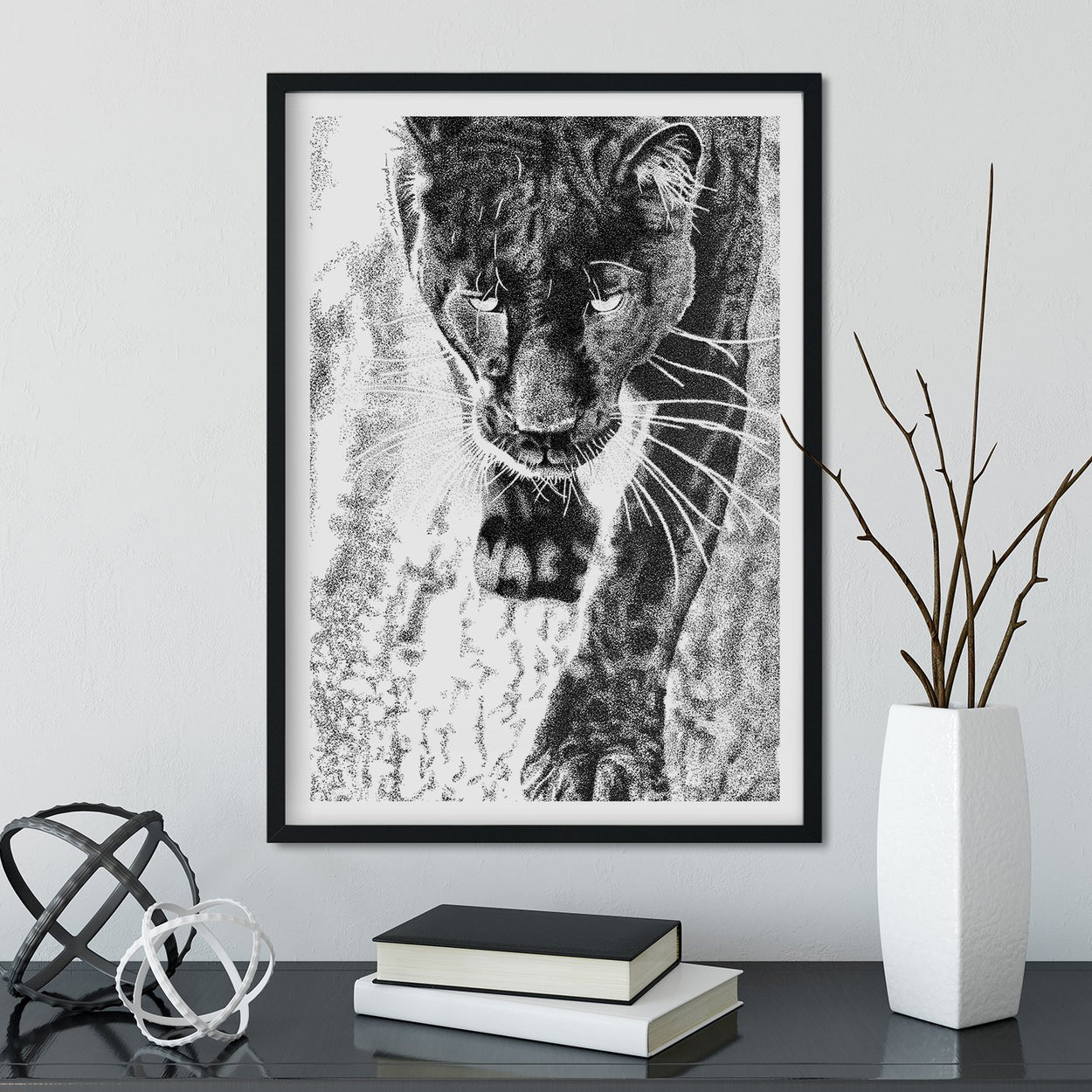 Black Leopard Wall Art Framed - The Thriving Wild
