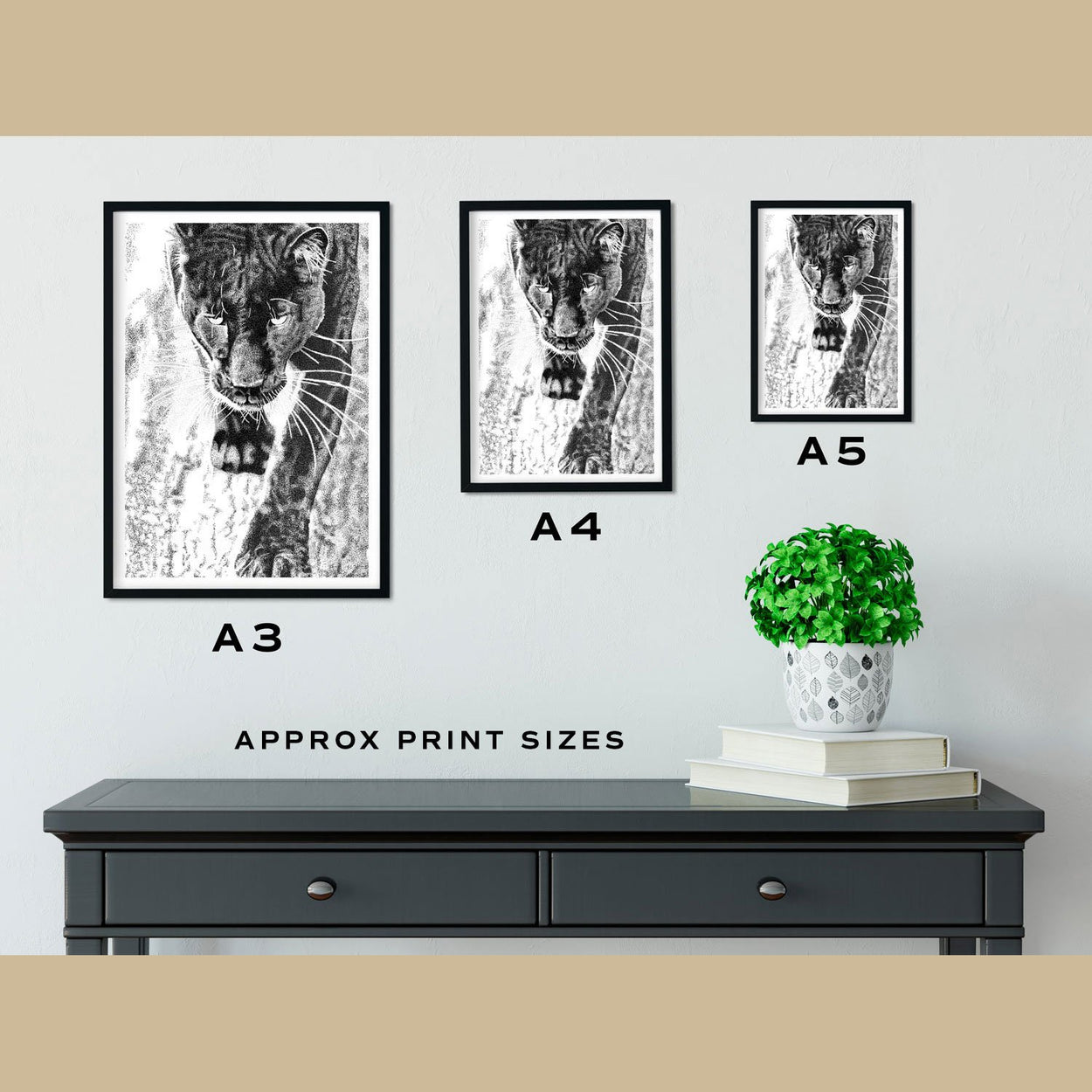 Black Leopard Wall Art Print Size Comparison - The Thriving Wild