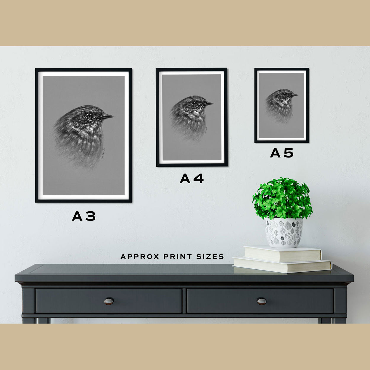 Dunnock Prints Size Comparison - The Thriving Wild