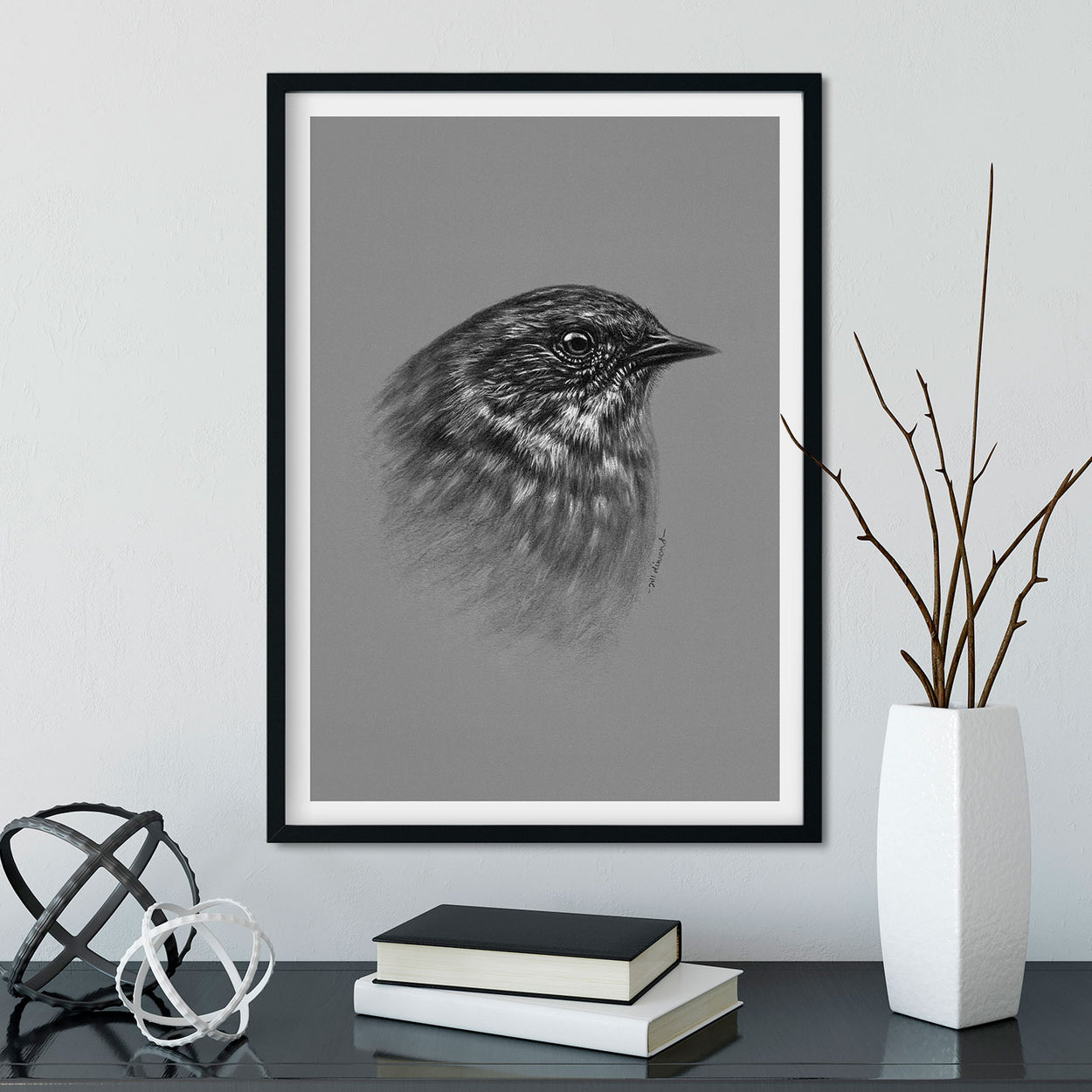 Dunnock Wall Art in Frame Garden Birds - The Thriving Wild - Jill Dimond