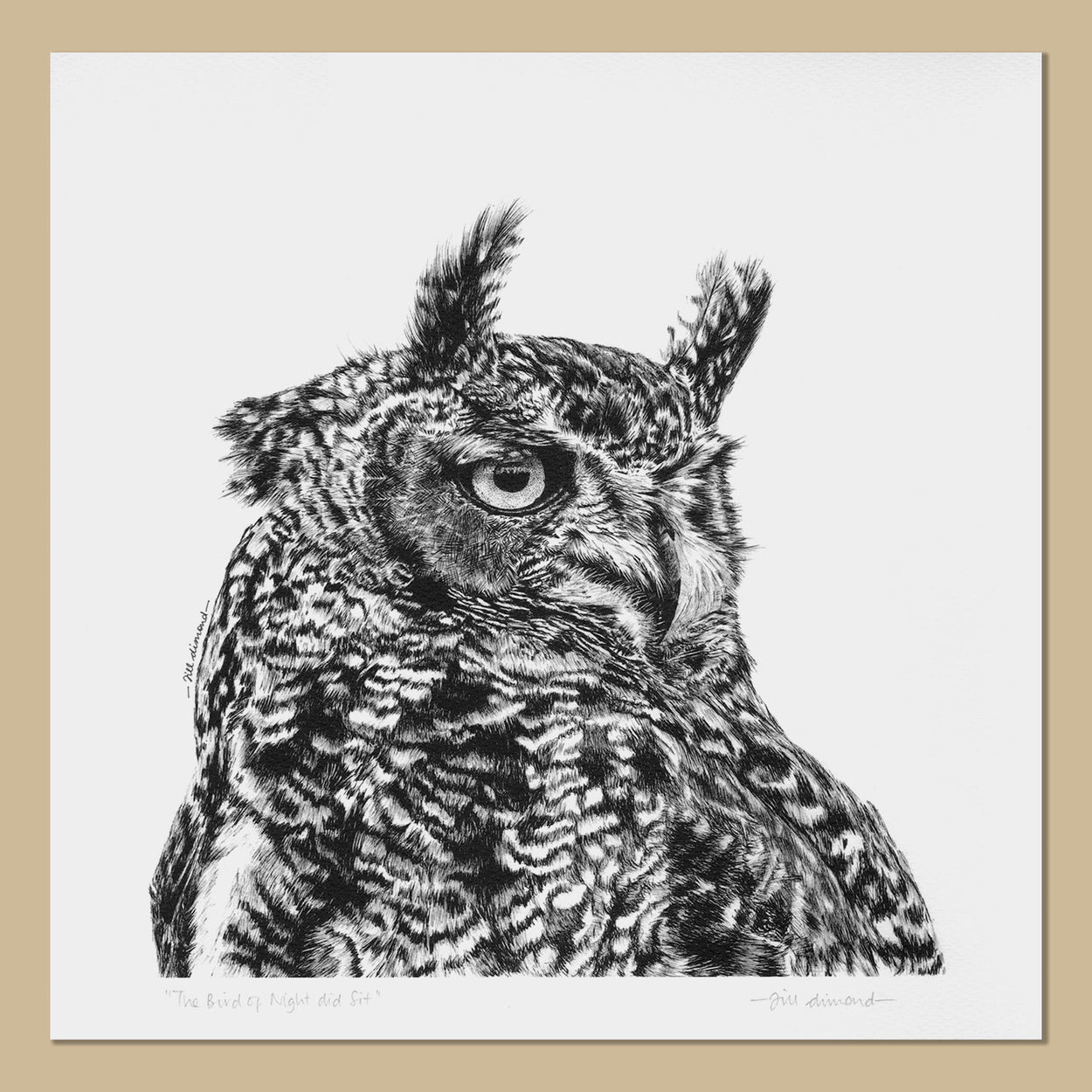 Eagle Owl Art Prints Square - The Thriving Wild