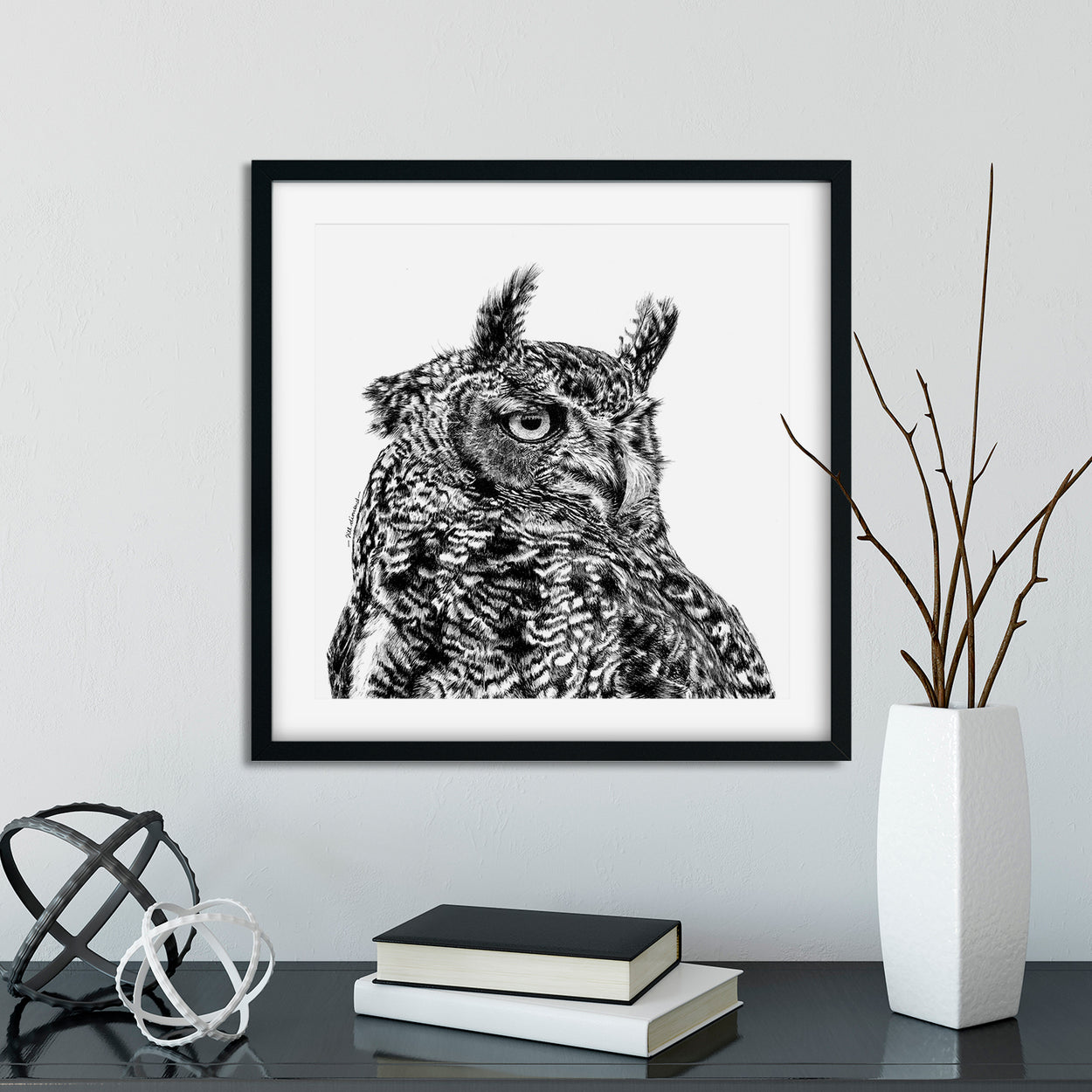 Eagle Owl Prints Square Framed - The Thriving Wild