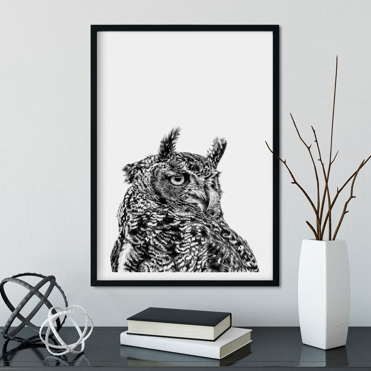 Eagle Owl Wall Art Framed - The Thriving Wild