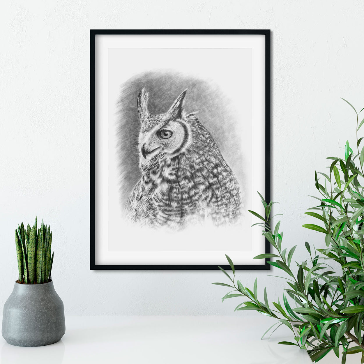 Great Horned Owl Drawing Framed Wall - The Thriving Wild - Jill Dimond