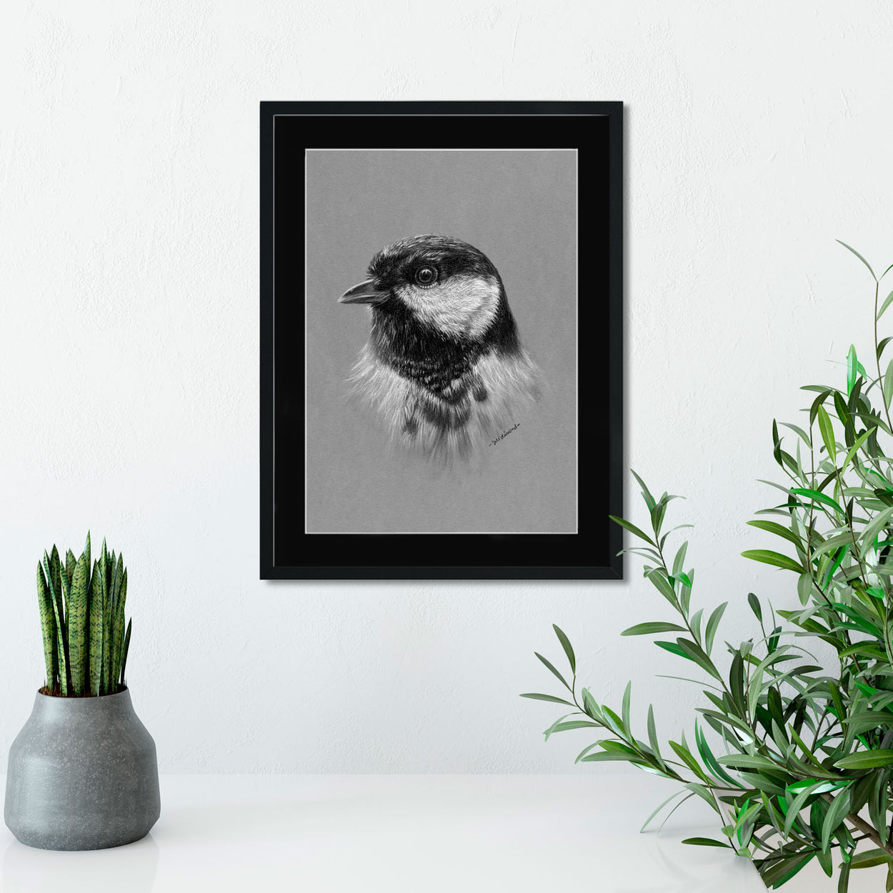 Great Tit Drawing on Wall - The Thriving Wild