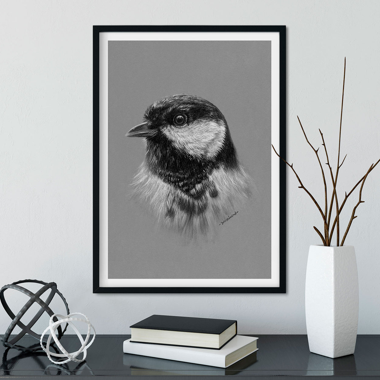Great Tit Garden Bird Wall Art in Frame - The Thriving Wild - Jill Dimond