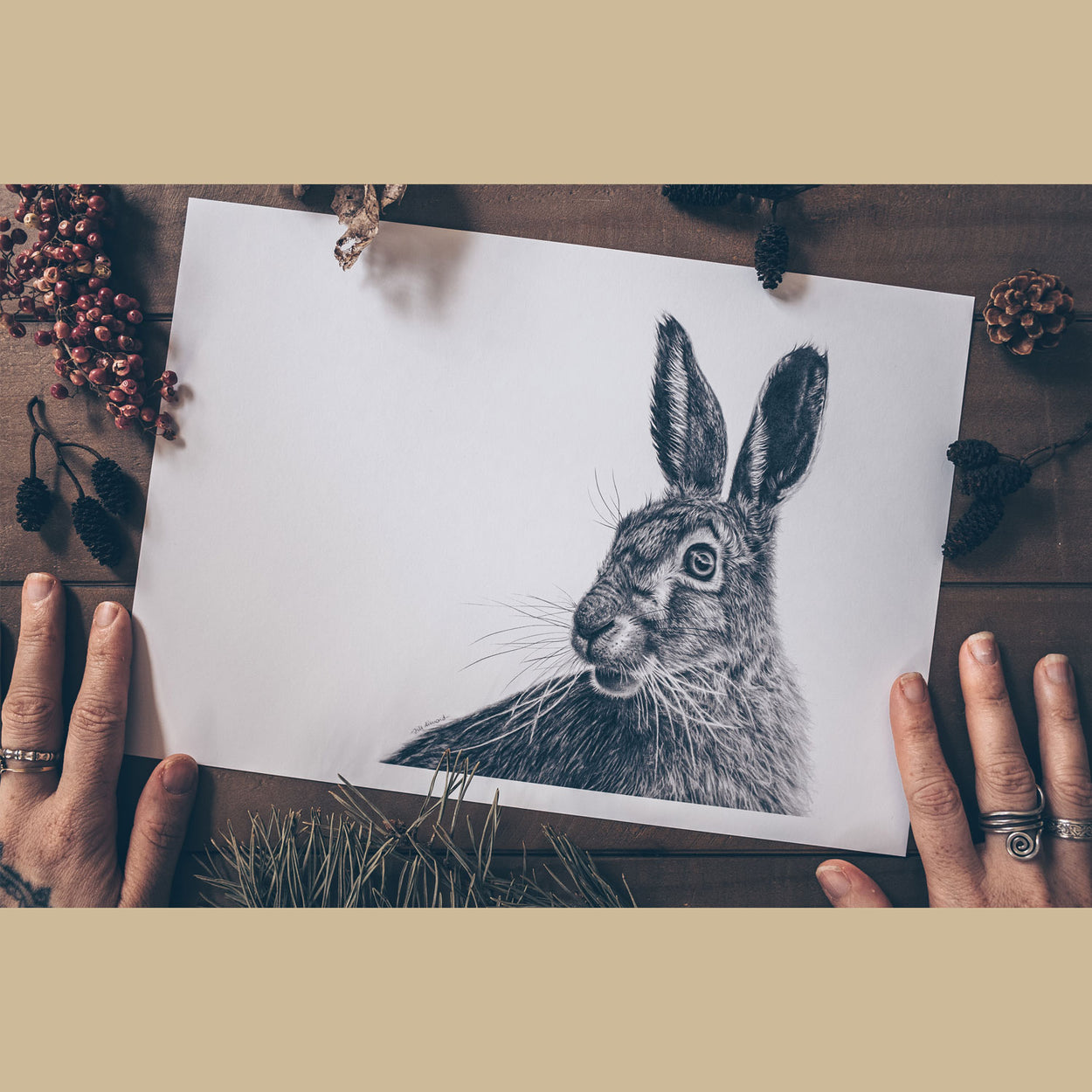 Hare Fine Art Print Flatlay - The Thriving Wild