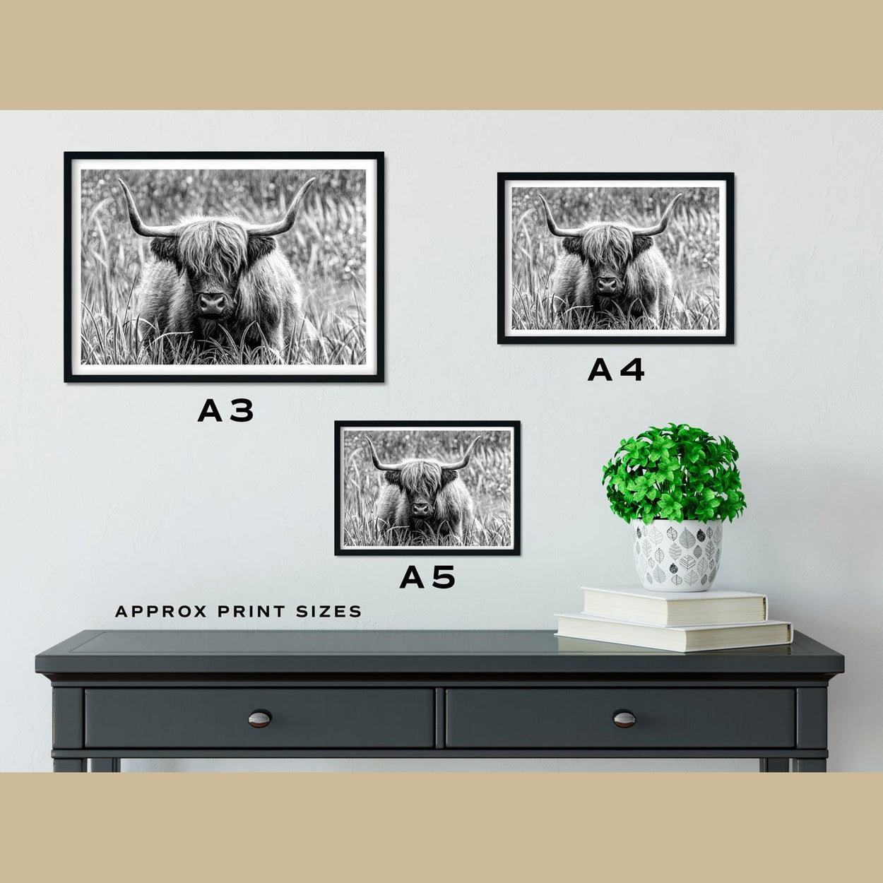 Highland Cow Prints Size Comparison - The Thriving Wild