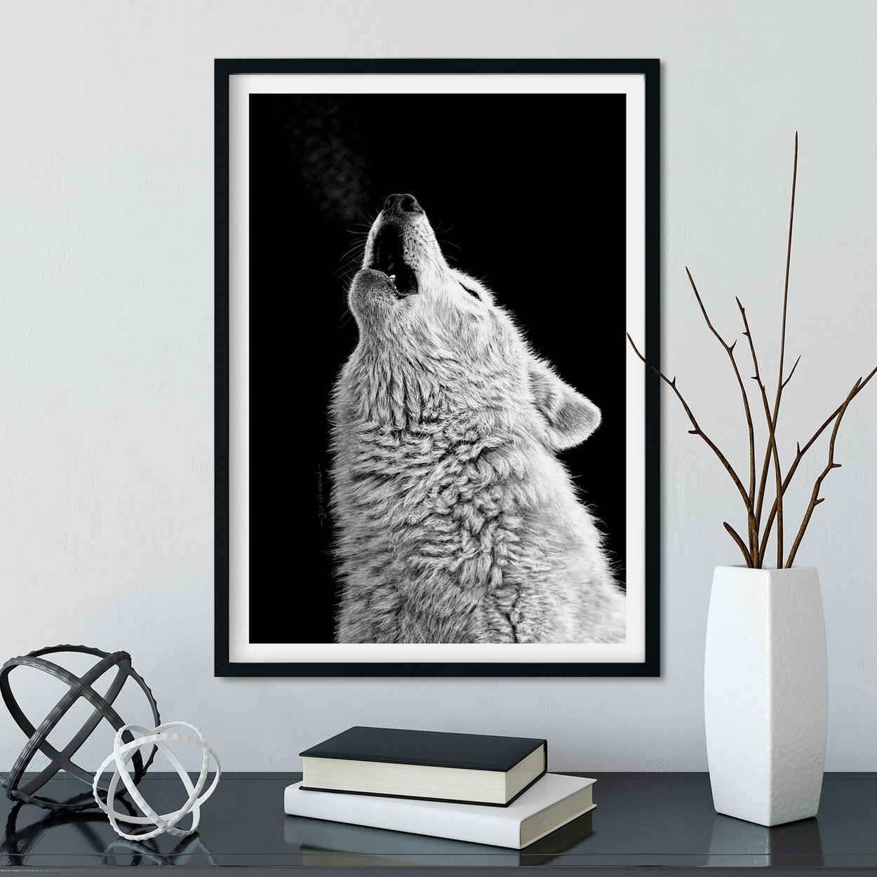 Howling Wolf Wall Art Framed - The Thriving Wild