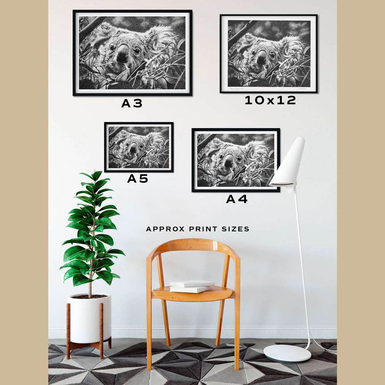 Koala Wall Art Size Comparison - The Thriving Wild