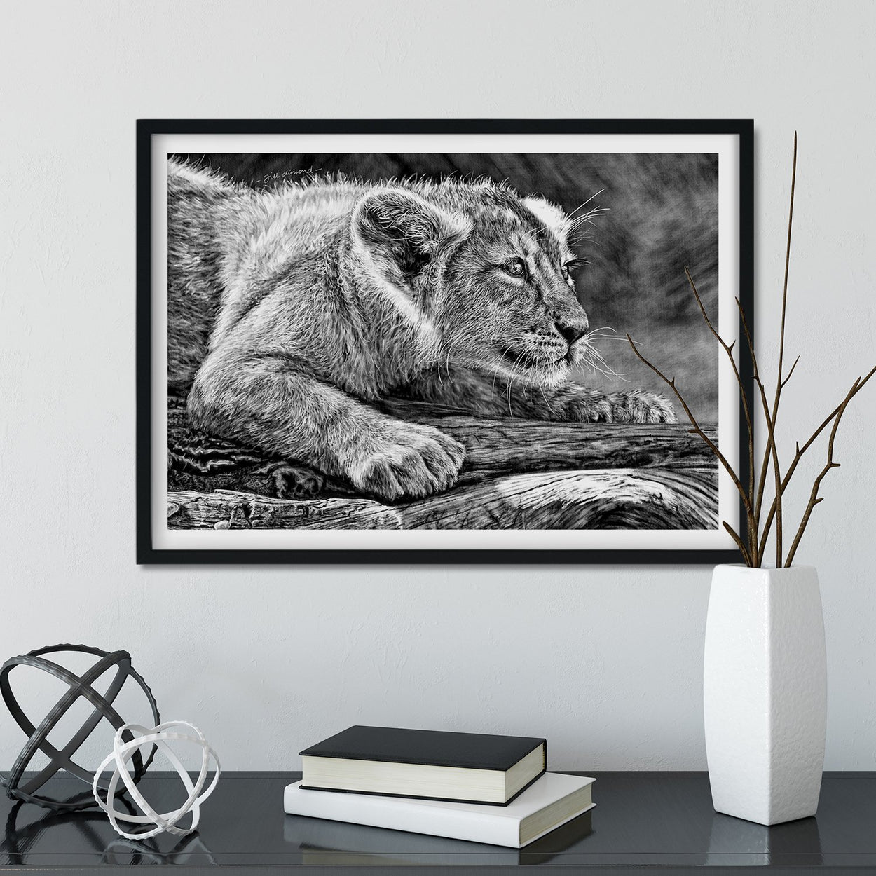Lion Cub Wall Art Framed - The Thriving Wild