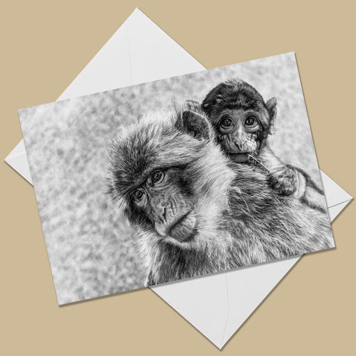 Mama & Baby Macaques Greeting Card - The Thriving Wild