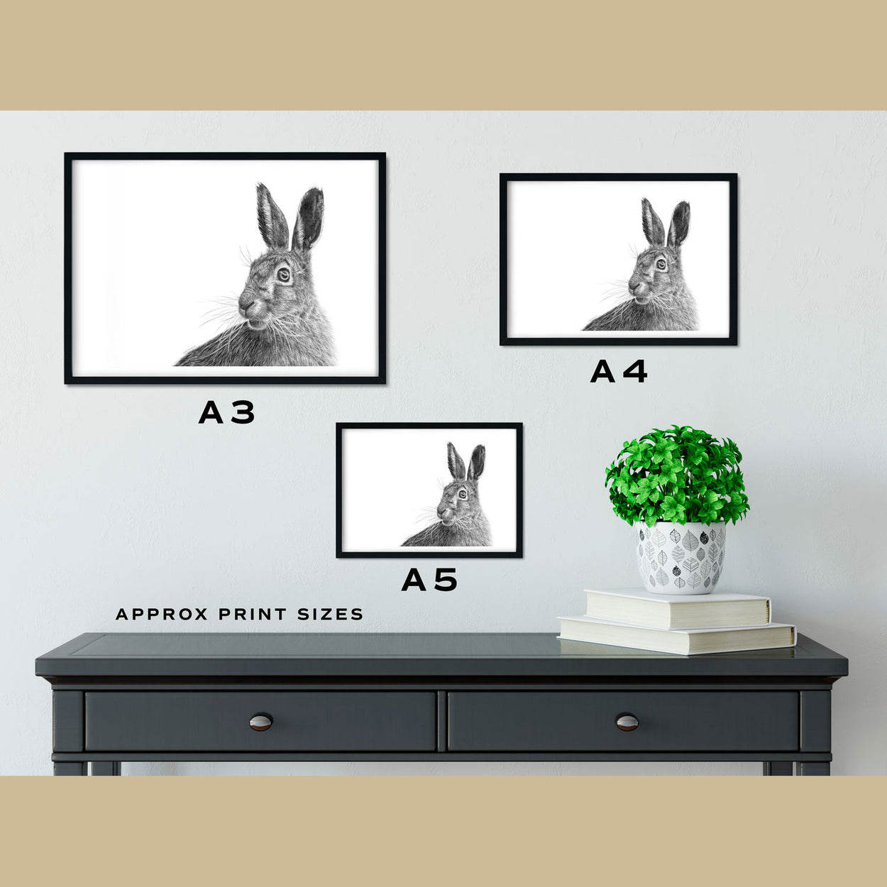 March Hare Fine Art Print Size Comparison---The Thriving Wild