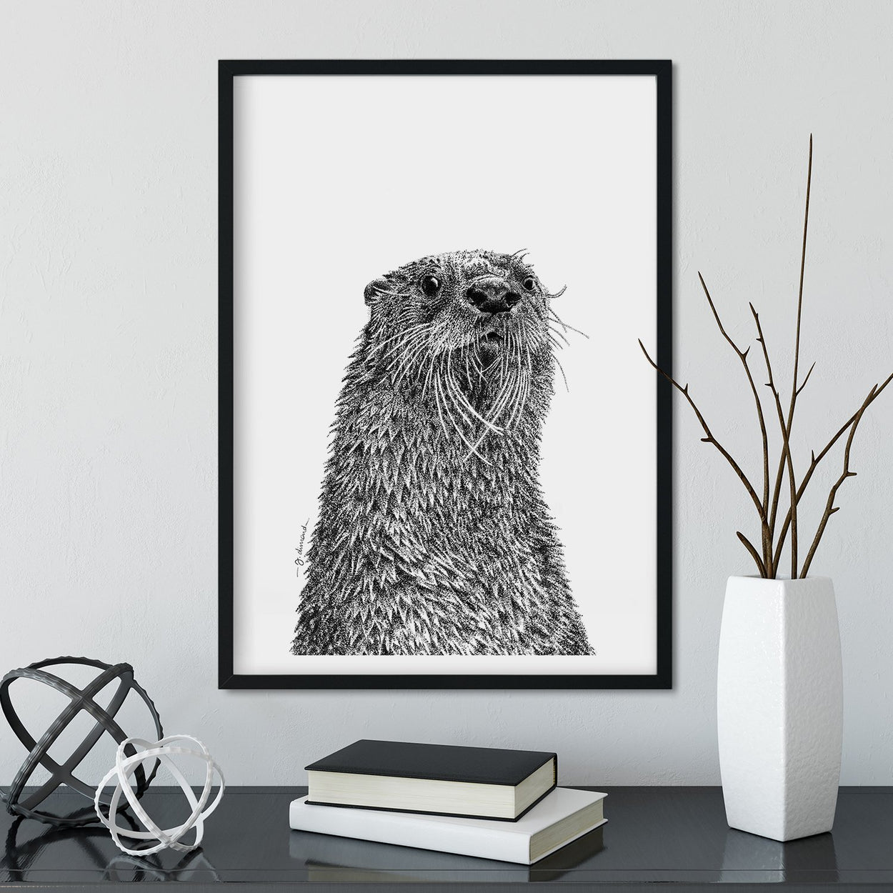 Otter Wall Art Framed - The Thriving Wild