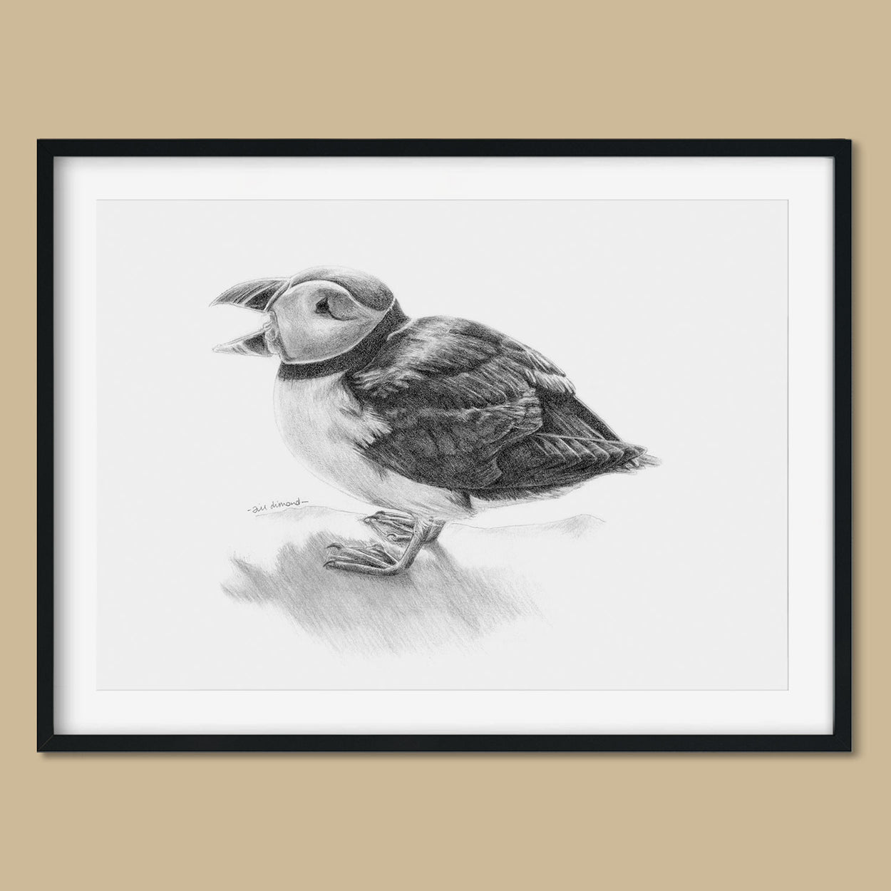 Puffin Drawing in Frame Flatlay - The Thriving Wild