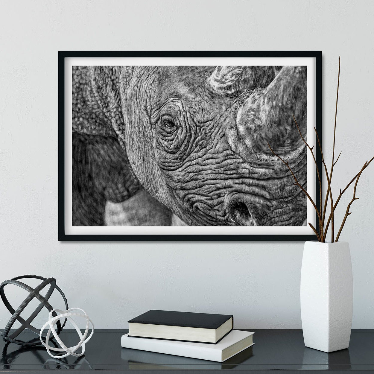 Rhino Wall Art Framed - The Thriving Wild