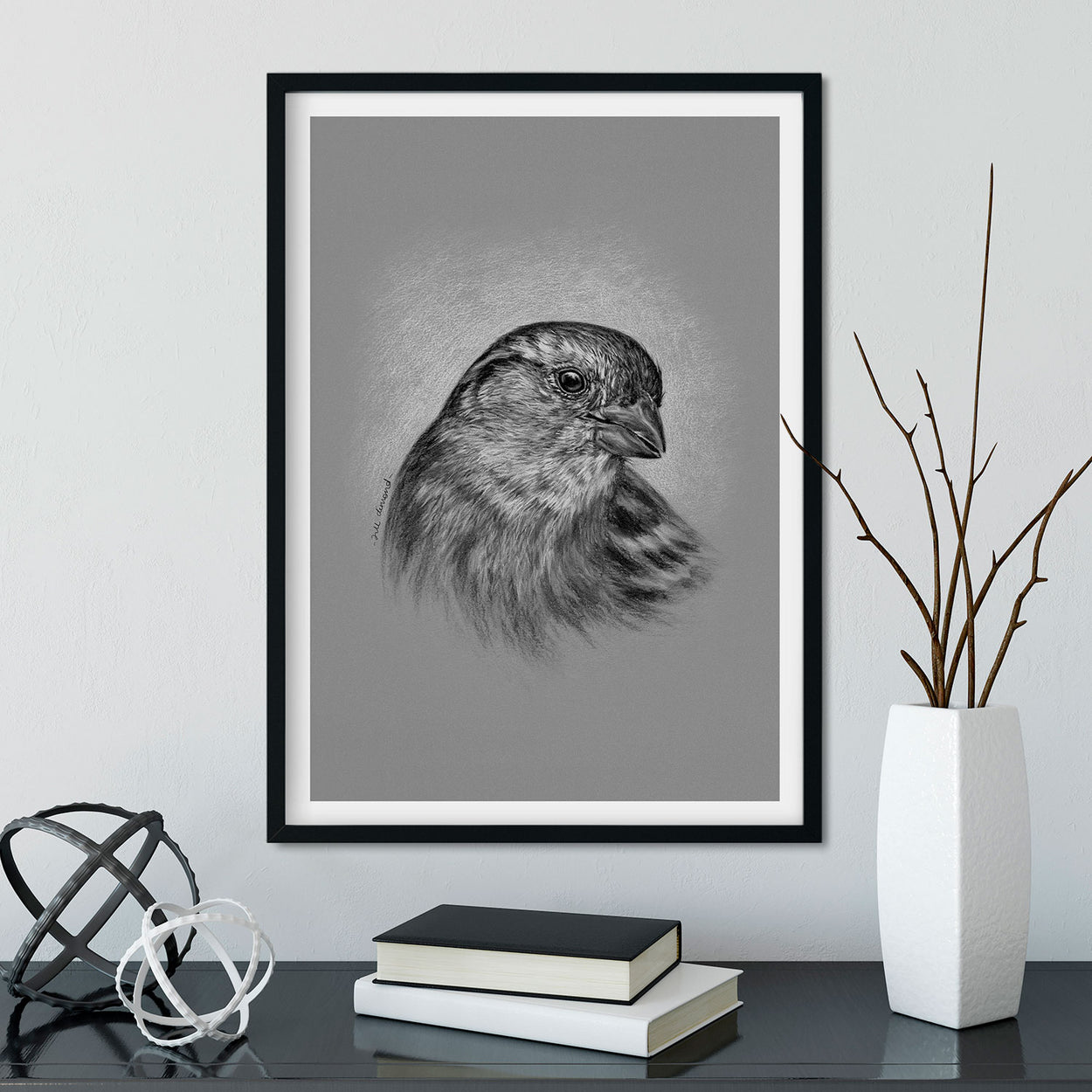 Sparrow Wall Art in Frame Garden Birds - The Thriving Wild