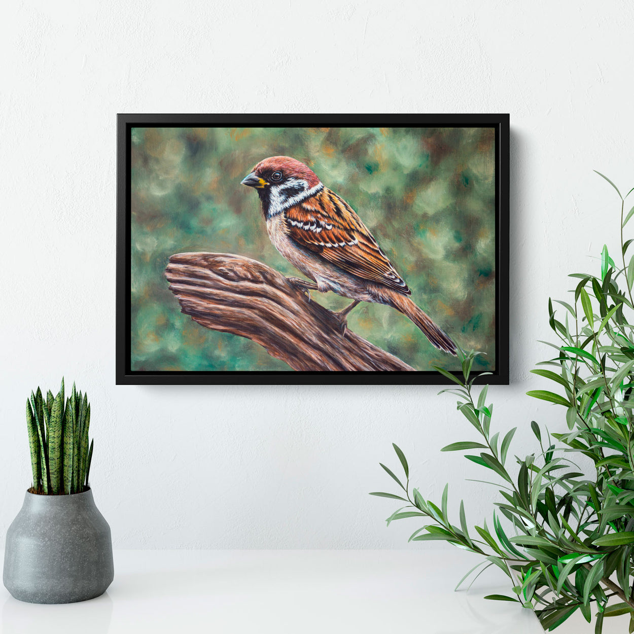 Tree Sparrow Painting on Wall - The Thriving Wild