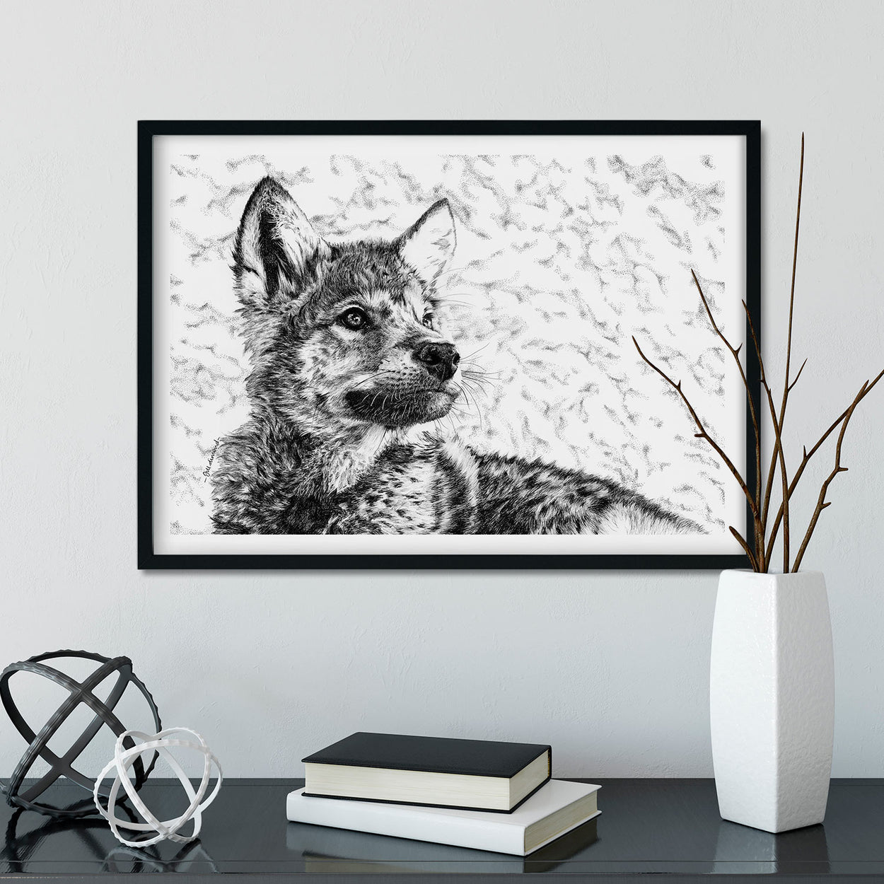 Wolf Cub Wall Art Framed - The Thriving Wild