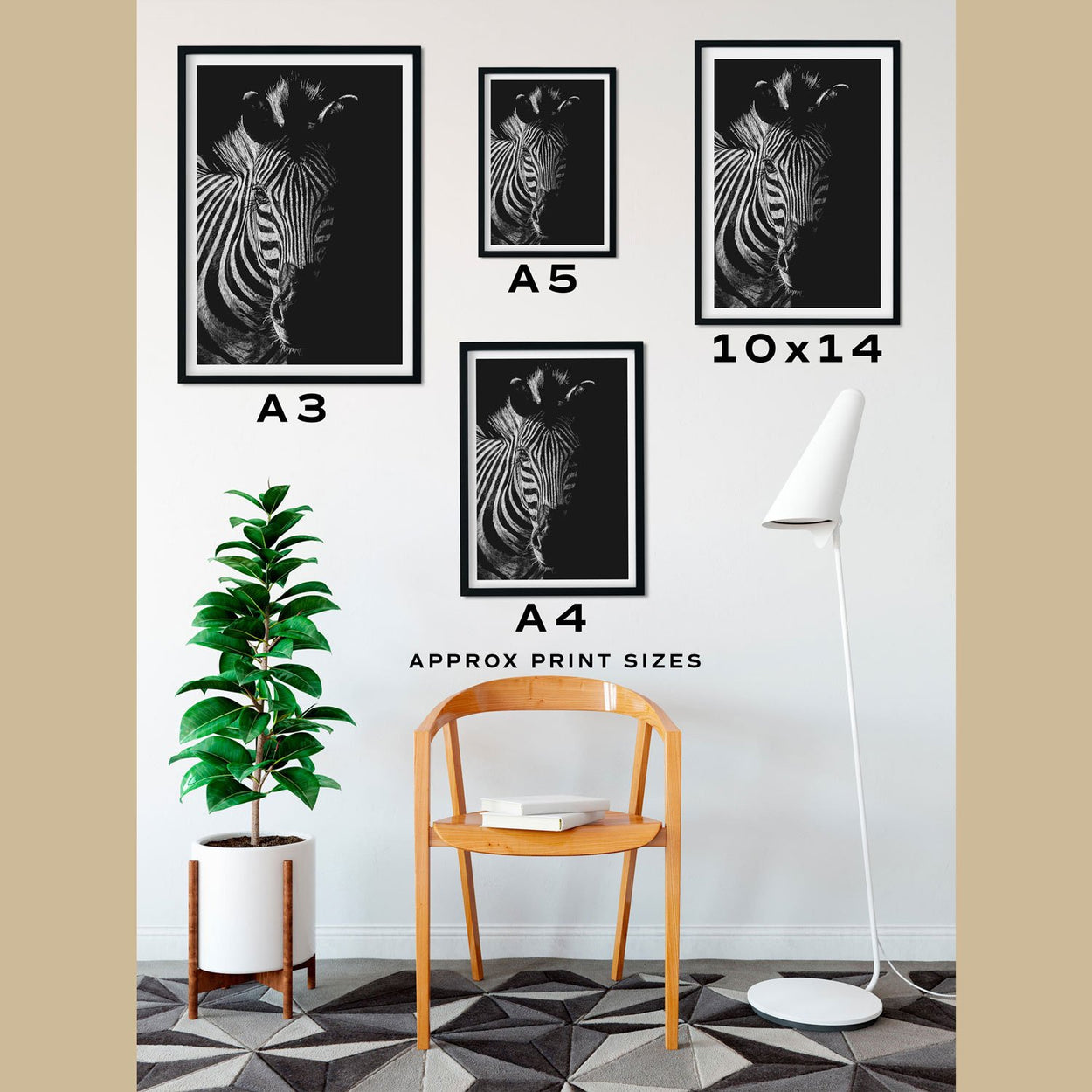 Zebra Wall Art Prints Size Comparison - The Thriving Wild