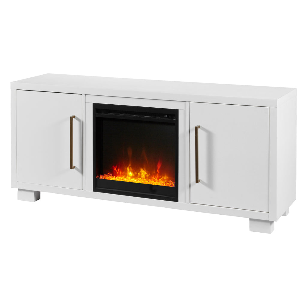Shelby 55 in. TV Stand with 18 in. Electric Fireplace TV Stand in White - C3P18C9-2030W