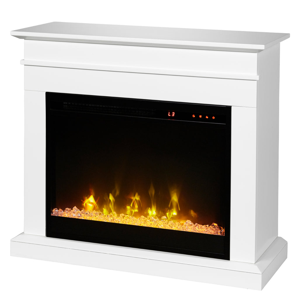 Jasmine 31 in. Mantel with a 23 in. Electric Fireplace in White - C3P23C9-2067W