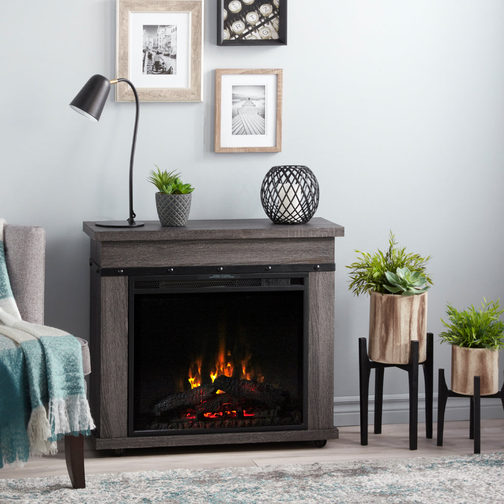 Morgan 29 in. Mantel with a 23 in. Electric Fireplace in Charcoal Oak - C3P23LJ-2085CO