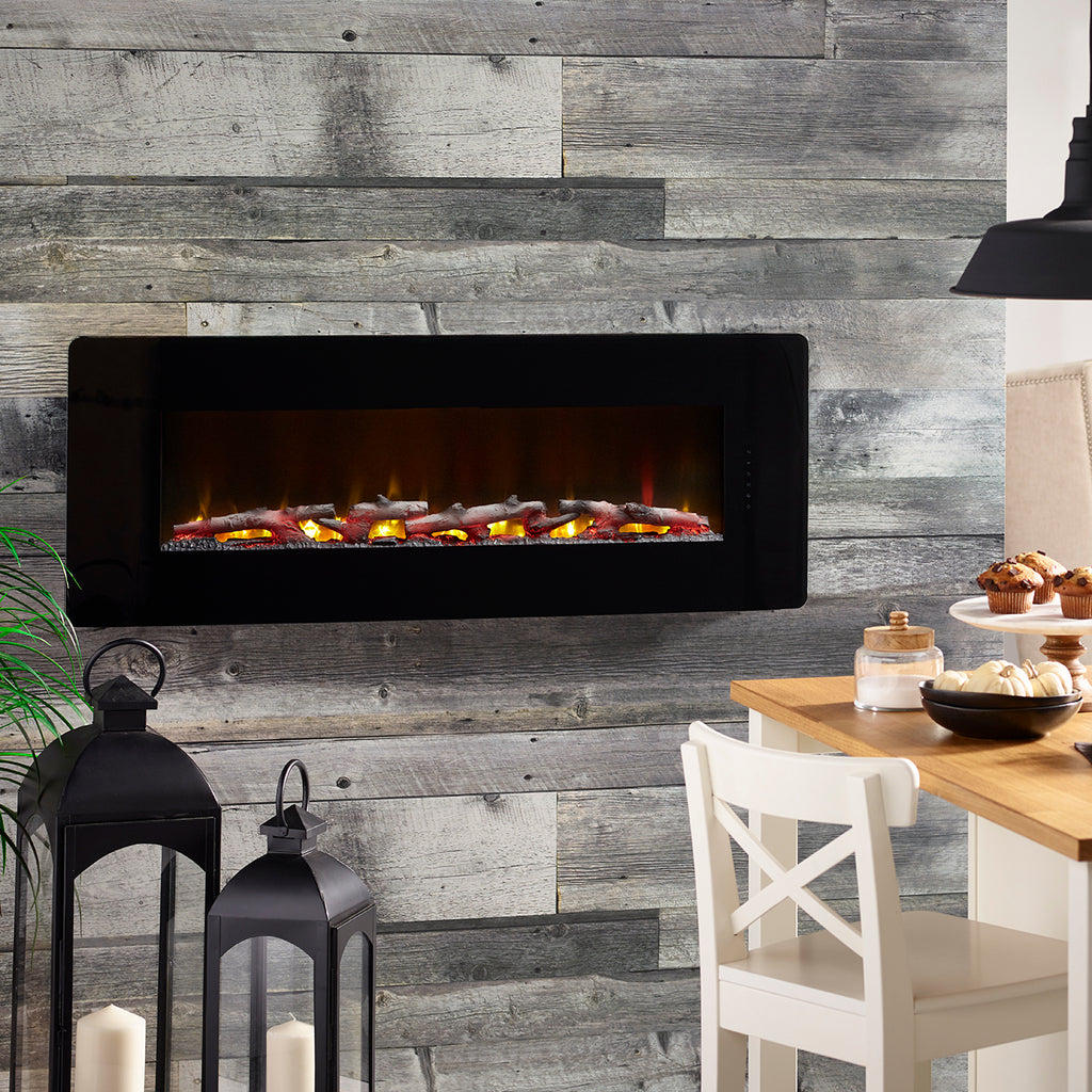 Winslow 48 in. Wall-Mount/Tabletop Linear Electric Fireplace in Black - SWM4820