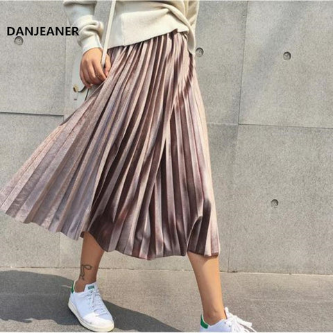 Long Metallic Maxi Pleated Skirt