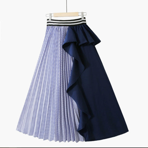 Women Clothes Thin Striped Elastic Ruffles Contrast Colors Skirt