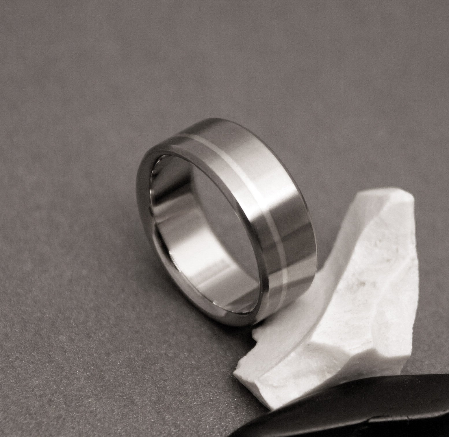 Titanium Ring - One Off Center Sterling Silver Pinstripe
