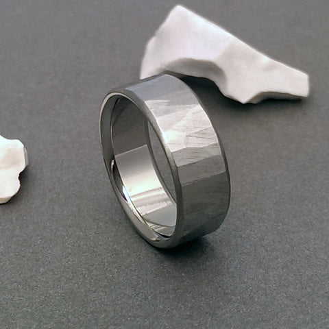 "Hand carved titanium band with our original ""Sequoia"" Finish"