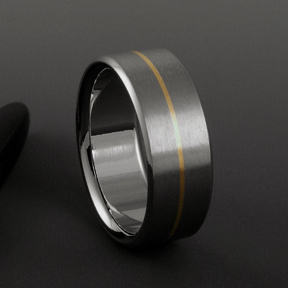 Handmade Titanium and 18k Gold Wedding Band