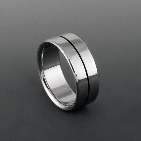 Handcrafted Titanium Wedding Band With Black Pinstripe