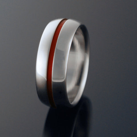 Titanium Band - Domed Profile - One Wide Red Pinstripe