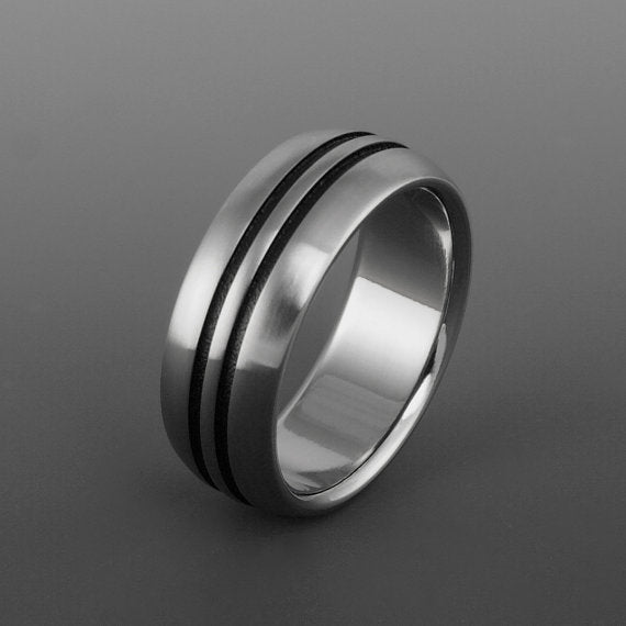 Titanium and Black Men's Wedding Band