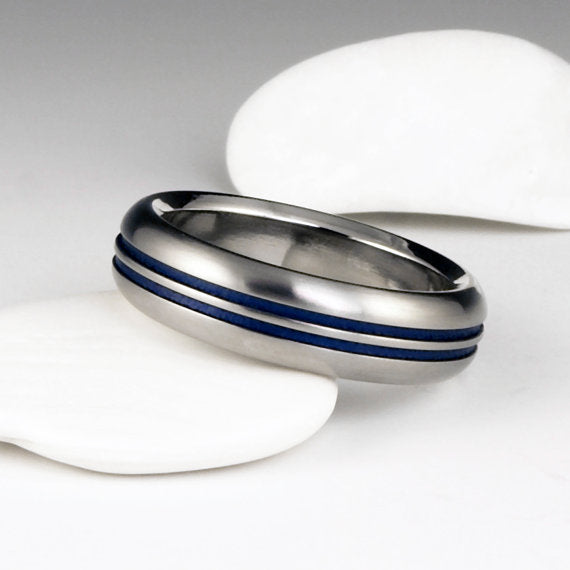 Handcrafted Unisex Wedding Ring- Titanium Wedding Ring with Blue Stripes